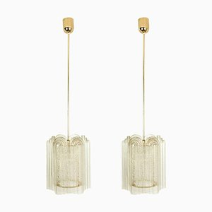 Art Deco Style Glass and Brass Doria Pendant Lights by Doria Leuchten Germany for Tracie, 1960s, Set of 2