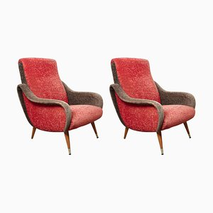Italian Red and Grey Ladies Lounge Chairs, 1952, Set of 2