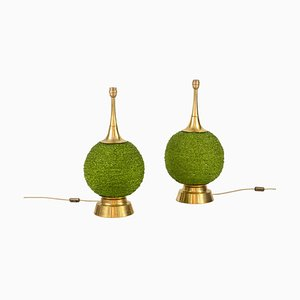 Table Lamps in Green Lucite and Gilt Brass, 1970s, Set of 2