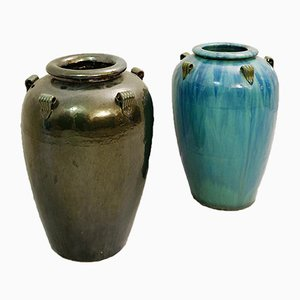 Glazed Terracotta Jars, 1960s, Set of 2