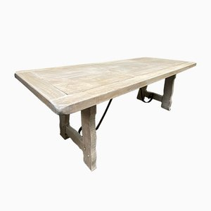 Large Spanish White Lime Waxed Solid Oak Farmhouse Dining Table
