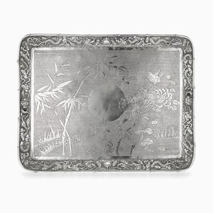 Antique Chinese Silver Serving Tray by Luen Hing, 1900s