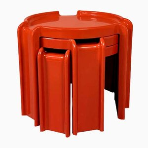 Red Nesting Table by Giotto Stoppino for Kartell, 1970s
