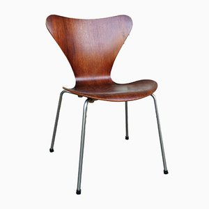 Mid-Century Teak 3107 Dining Chair by Arne Jacobsen for Fritz Hansen, 1950s