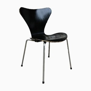 Mid-Century Black 3107 Dining Chair by Arne Jacobsen for Fritz Hansen, 1950s