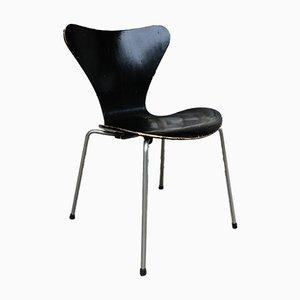 Sedia da pranzo 3107 Mid-Century nera di Arne Jacobsen per Fritz Hansen, anni '50