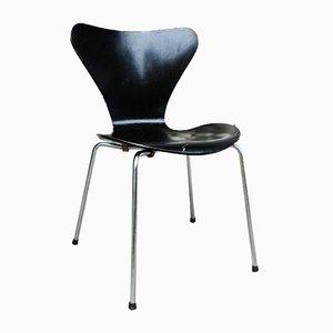 Sedia da pranzo 3107 nera di Arne Jacobsen per Fritz Hansen, 1966