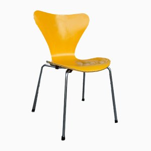 Mid-Century Yellow 3107 Dining Chair by Arne Jacobsen for Fritz Hansen, 1970s