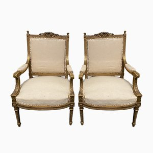 19th Century French Giltwood Armchairs, Set of 2