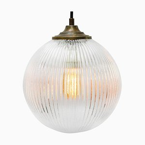 Vintage Clear Glass and Brass Top Pendant Lamp