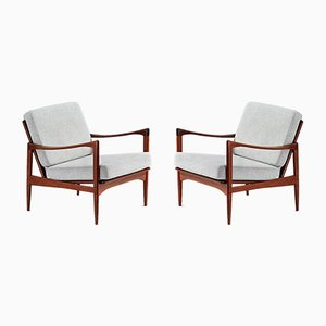 Afromosia Teak and Gray Upholstery Candidate Lounge Chairs by Ib Kofod Larsen for OPE, 1960s, Set of 2