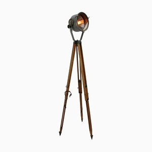 Vintage Industrial Tripod Gray Metal Mirror and Wooden Floor Lamp