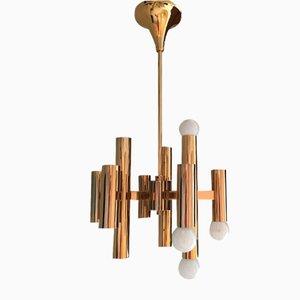 Mid-Century Gold Ceiling Lamp by Gaetano Sciolari, 1970s