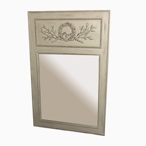 Gilded and Gray Stucco and Wood Flower Decor Trumeau Mirror, 1950s