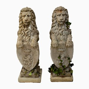 Stone Lion Garden Statues, 1960s, Set of 2