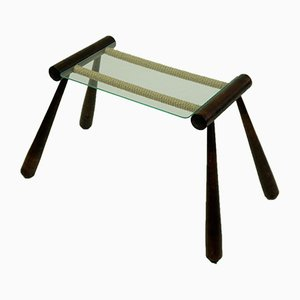Mid-Century Austrian Maple Cord and Glass Side Table by Max Kment, 1950s
