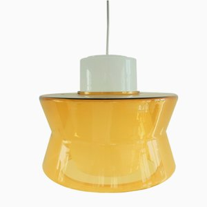 Vintage Golden Yellow and White Glass Pendant Lamp