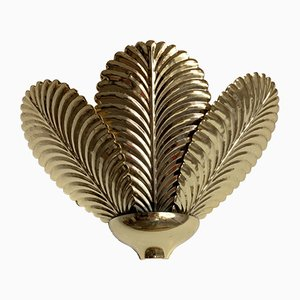 Vintage Gold Palm Leaf Sconce, 1980s