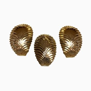 Vintage Gold Palm Leaf Sconces, 1980s, Set of 3