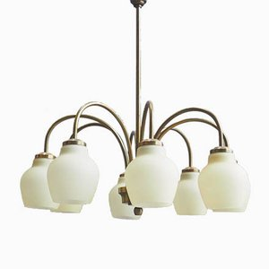 Glass and Brass 8-Arm Chandelier from Fog & Mørup, 1960s