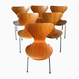 Teak 3107 Dining Chairs by Arne Jacobsen for Fritz Hansen, 1960s, Set of 6