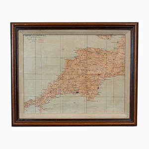 Vintage English Mahogany Framed Illustrated Devon and Cornwall Map, 1950s