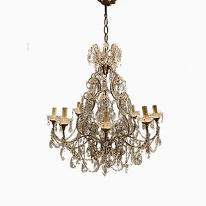 Large Vintage Crystal Beaded Chandelier, 1950s