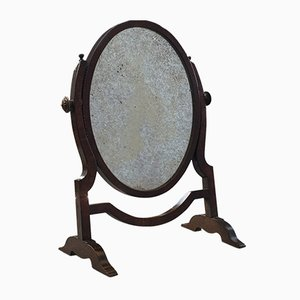 Antique Regency English Oak and Mahogany Vanity Dresser Mirror, 1820s