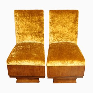 Vintage Mustard Velvet Lounge Chairs, Set of 2