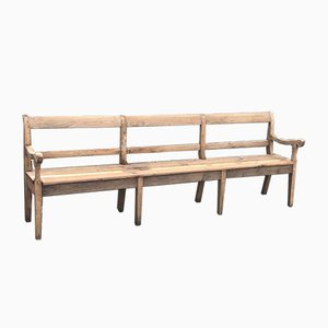 Antique French Bleached Oak and Pinewood Bench