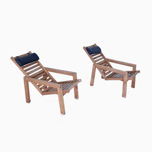 Vintage Larch Chaise Lounges, Set of 2