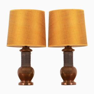 Italian Copper Table Lamps from Bitossi, 1960s, Set of 2