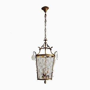 Italienische Vintage Deckenlampe aus Kristallglas und Bronze, 1950er