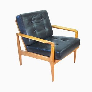 Mid-Century Black Leather Armchair