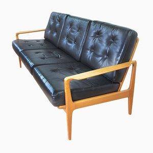 Mid-Century Black Leather Sofa, 1960s