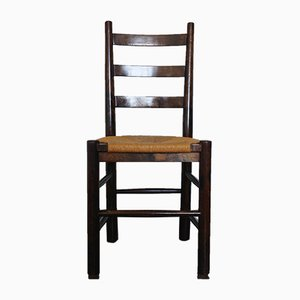 Mid-Century French Wood and Rush Side Chairs by G Robert, 1960s, Set of 6