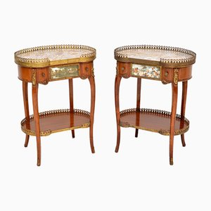 French Marble Top Side Tables, 1930s, Set of 2