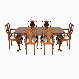 Queen Anne Style Burr Walnut Dining Chairs, 1930s, Set of 7