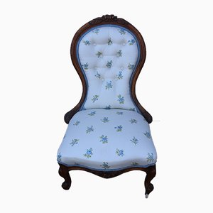 Antique Mahogany Upholstered Balloon Back Nursing Chair, 1910s