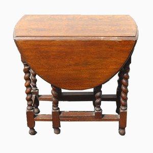Small Oak Gateleg Table with Barley Twist Legs, 1900s