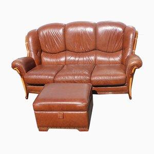 Braunes 3-Sitzer Sofa und Pouf aus Leder, 1960er, 2er Set