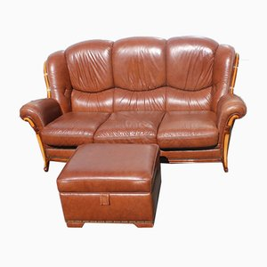 Brown Leather 3-Seat Sofa and Pouf, 1960s, Set of 2
