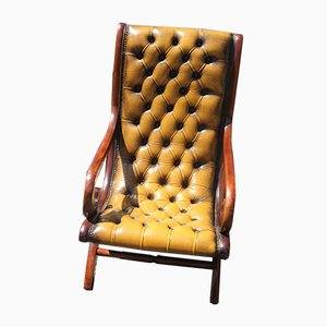 Slipper Chair in Brown Leather, 1960s