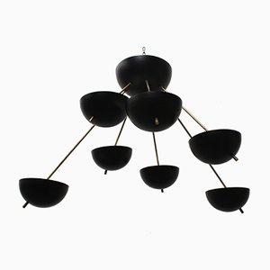 Mid-Century Italian Black & Brass Sputnik in the Style of Stilnovo, 1960s