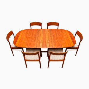 Danish Teak Dining Room Set by Kai Kristiansen for Korup Stolefabrik, 1950s, Set of 7