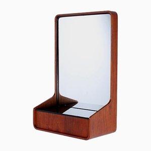 Consola holandesa espejo de vidrio, teca y negro de Friso Kramer para Auping, 1963