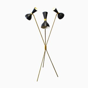 Mid-Century Italian Minimalist Black Brass Floor Lamp in the Style of Stilnovo, 1950s