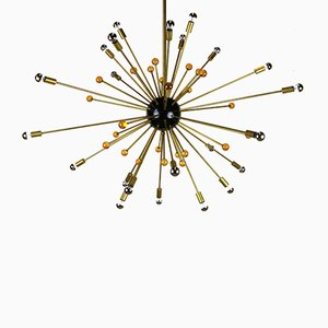 Italian Minimalist Sputnik Chandelier in Black, Gold & Murano Glass in the Style of Stilnovo, 1950s