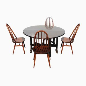 Medium Oak Dining Table & Chairs Set from Ercol, 1960s, Set of 5