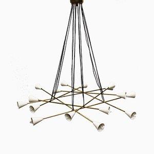 Lampadario Mid-Century minimalista in ottone nello stile di Stilnovo, Italia, anni '50